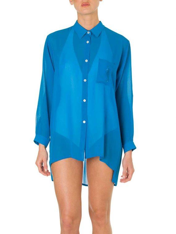 Camicia Taschino Georgette Turchese-7064