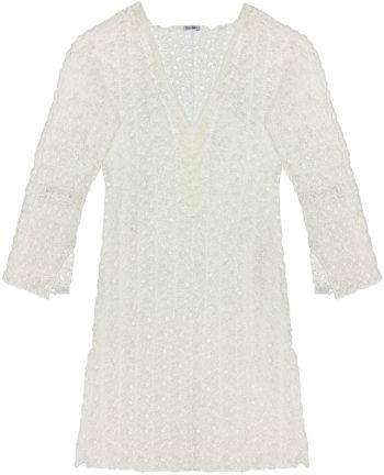 Vestito corto maglia traforata Bianco-7011